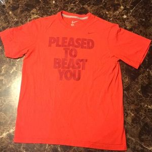 """NIKE Youth XL """" Pleased to Beast you"""" Red shirt"""